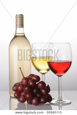 Bottle And Two Glasses Of Wine