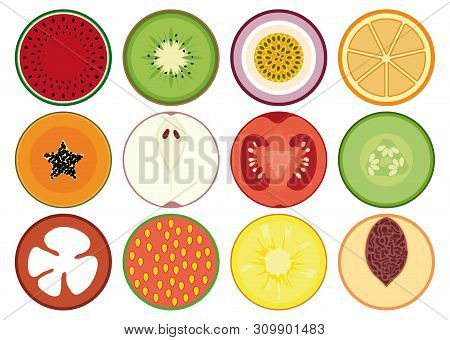 Set Of Different Illustration Of  Fruits And Vegetables