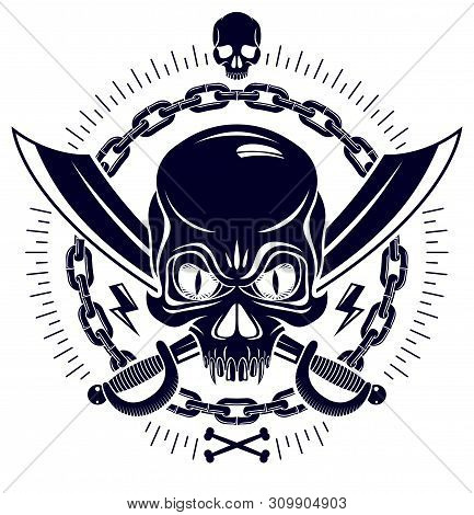 Aggressive Skull Pirate Emblem Jolly Roger With Weapons And Other Design Elements, Vector Vintage St