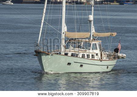 Fairhaven, Massachusetts, Usa - July 3, 2019: Motor Sailer Liberty Leaves Fairhaven On Nearly Windle