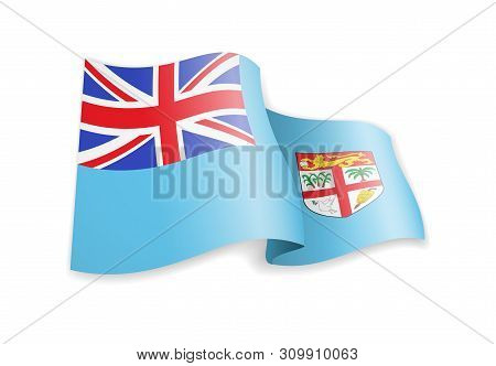 Fiji Flag In The Wind. Flag On White Vector Illustration