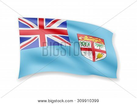 Waving Fiji Flag On White. Flag In The Wind.