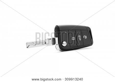 Modern car key on white background, including clipping path