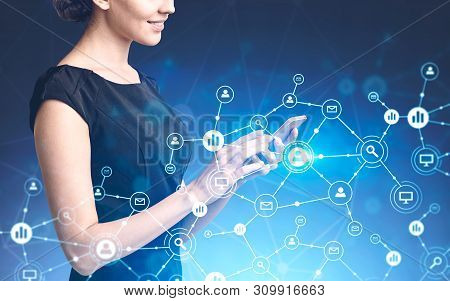Side View Of Smiling Unrecognizable Woman In Black Dress Working With Smartphone With Double Exposur