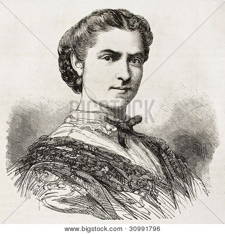 Mrs. Volpini de Villar old engraved portrait (Spanish singer). Created by Chenu, published on L'Illustration, Journal Universel, Paris, 1863