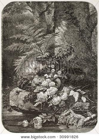 Flowers old illustration, after tablet of Robie, published on L'Illustration, Journal Universel, Paris, 1863