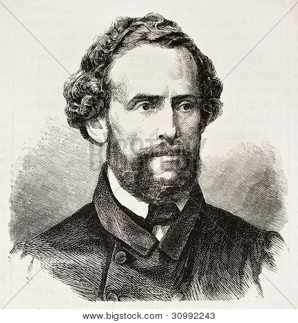 General Juan-Antonio Pizet old engraved portrait (Peruvian military and politician, President of Peru). Created by Chenu after photo of Maunoury, pub. on L'Illustration, Journal Universel, Paris, 1863 poster