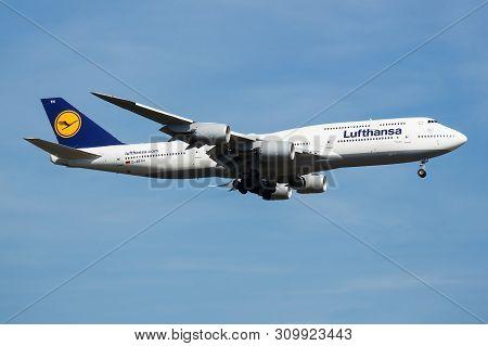 Frankfurt / Germany - August 21, 2013: Lufthansa Boeing 747-8 D-abyh Passenger Plane Landing At Fran