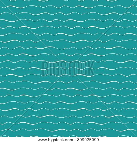 Abstract Hand Drawn Doodle Sea Waves With Varying Thickness. Seamless Geometric Vector Pattern On Oc