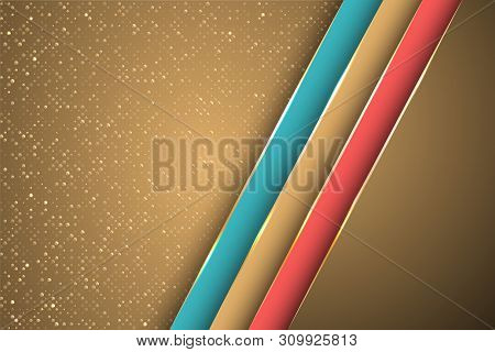 Gold Halftone Dots And Inclined Ribbon Stripes Banner Vector Design. Premium Poster Background Templ