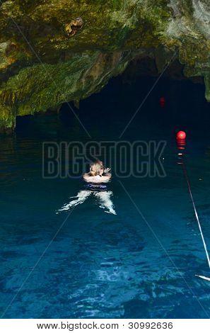Swimming in Gran Cenote, Tulum, Mexico