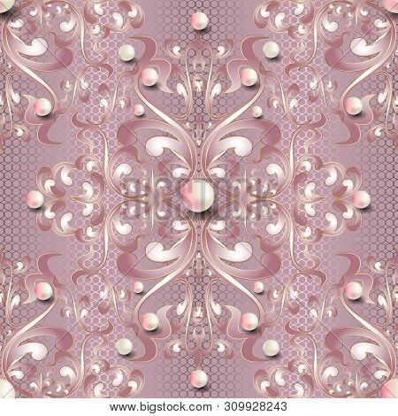 Jewelry 3d Baroque vector seamless pattern. Light pink elegance lacy background. Floral repeat textured lace backdrop. Damask baroque ornament in Victorian style. Vintage flowers, leaves, 3d pearls. poster