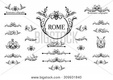Vector Set Of Calligraphic Design Elements, Page Decor, Dividers And Ornate Headpieces. Rome Style C