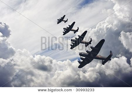 World War Two British Vintage Flight Formation
