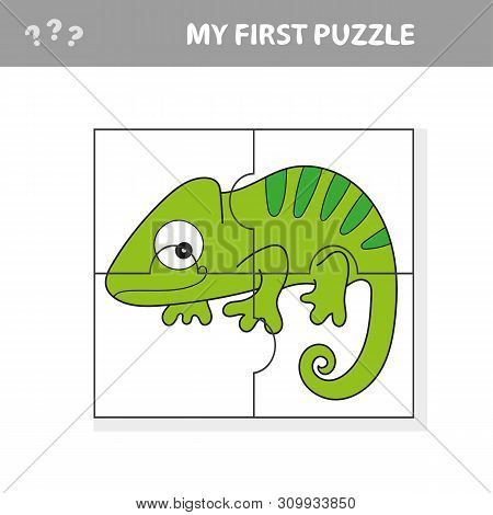 Game For Kids. Activity Page. Puzzle For Children - Iguana Or Chameleon. Simple Isolated Vector Illu