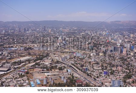 Areal View Of The City Addis Ababa In Ethiopia