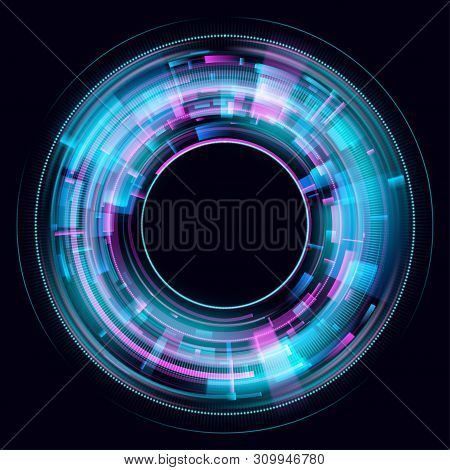 Abstract Glowing Circles On Black Background. Magic Circle Light Effects. Illustration Isolated On D