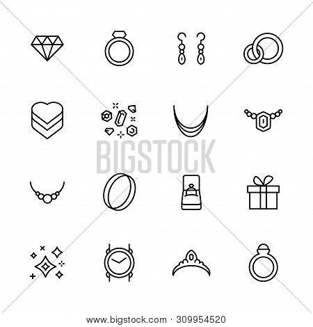 Jewelry And Bijouterie Icon Simple Symbols Set. Contains Icon Gem, Diamond , Earrings, Gold Ring, Ne