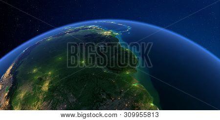 Planet Earth With Detailed Exaggerated Relief At Night Lit By The Lights Of Cities. South America. B