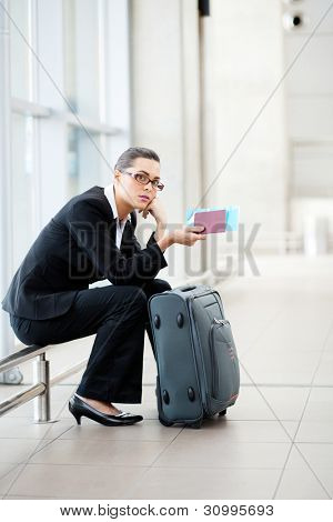 young businesswoman waiting at airport