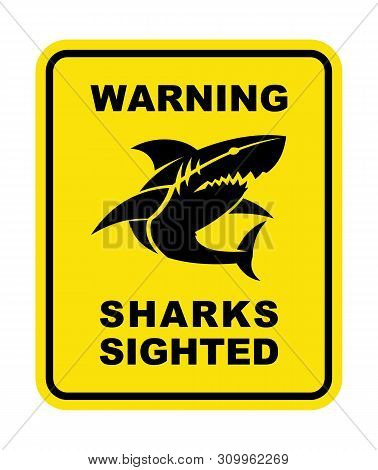 Shark Sighted Warning Sign. Shark Silhouette Icon