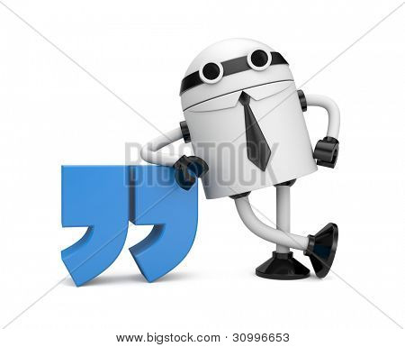Robot leaning on a quote. Image contain clipping path
