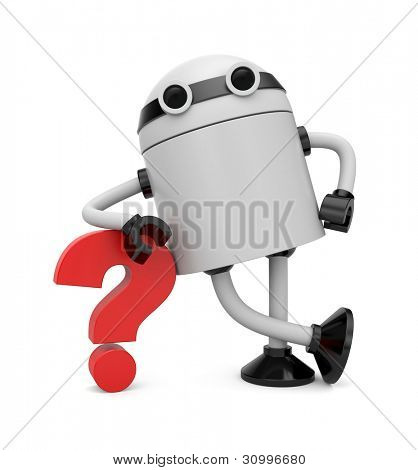 Robot leaning on a question. Image contain clipping path