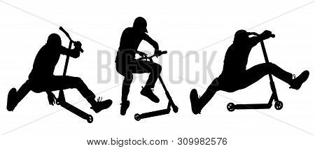 Teenager Performs Jumping Tricks On A Scooter - Vector Illustration