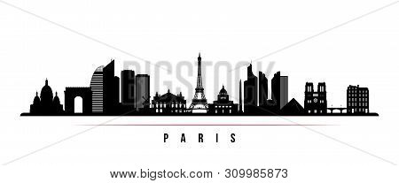 Paris City Skyline Horizontal Banner. Black And White Silhouette Of Paris City, France. Vector Templ