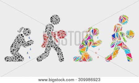 Juvenile Justice And Mother Collage Icon Of Triangle Items Which Have Various Sizes And Shapes And C