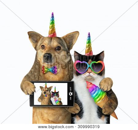 The Dog Unicorn In A Bow Tie With A Smartphone And The Cat Unicorn In Sunglasses With A Colored Ice