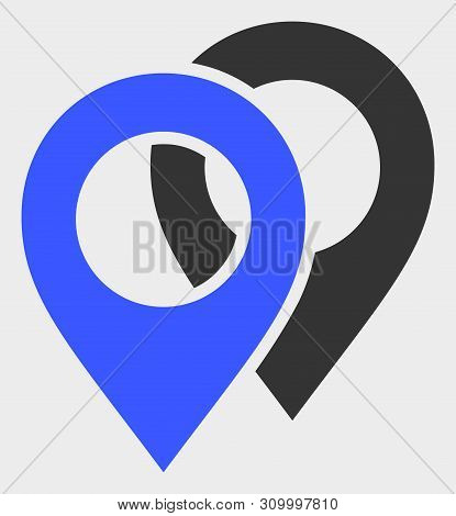 Map Markers Vector Icon. A Flat Illustration Design Of Map Markers Icon On A White Background.