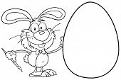 Outlined Happy Bunny Painting An Easter Egg poster