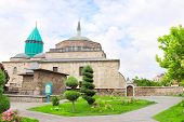 Garden near to mosque and Mevlana (Celaleddin  Rumi) Tomb in Konya, Turkey poster