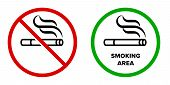 Smoking area and no smoking vector icons. Cigarette smokers zone, smoking permitted and forbidden logo sign poster