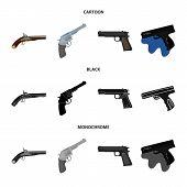 Vector illustration of revolver and pistol logo. Collection of revolver and trigger stock vector illustration. poster