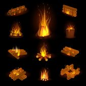 Fire flame or firewood fired flaming bonfire in fireplace and flammable campfire illustration fiery or flamy set with wildfire isolated on background poster