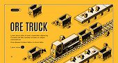 Ore mining or metallurgy company isometric web banner with ore truck pulling mining trolleys on railway line art illustration. Heavy industry, quarry earthworks equipment landing page template poster