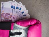 boxing for money, boxing glove with cash, Concept of bribery, dishonesty in sport, greed. Copy space poster