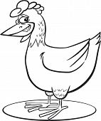 coloring page illustration of funny farm hen poster