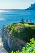 Landscape of cliffs and ocean in Cap-Bon-Ami, in the north sector of Forillon National Park, Gaspe Peninsula, Quebec, Canada poster