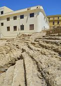 Parabolic tiered seating detail.Remains of the Roman Theatre of the ancient Gades in Hispania, the current city of Cadiz, Andalusia, Spain. poster