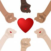 World Racial and Gender Equality. Unity, Alliance, Team, Partner Concept. Holding Hands Showing Unity. Relationship Icon. illustration for Your Design, Website. poster