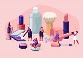 Women in Beautician Parlor. Female Characters Testing Skin Care Products in Beauty Salon. Makeup Courses, Make Up School, Cosmetics Masterclass, Face Care and Beauty. Cartoon Flat Vector Illustration poster