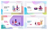 Women in Beautician Parlor. Female Characters Testing Skin Care Products in Beauty Salon. Makeup Cosmetics Face Care, Beauty Website Landing Page Set, Web Page. Cartoon Flat Vector Illustration Banner poster