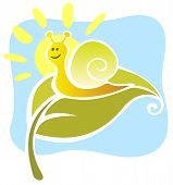 Funny stylized snail and sun on a blue background. poster