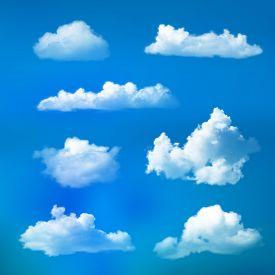 Big Set Of Transparent Clouds. Realistic Design Elements.