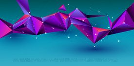 Vector 3d Illustration Geometric, Polygon, Line,triangle Pattern Shape With Molecule Structure. Blue