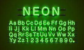 Neon Font City. Neon Green Font. Lamp Green Font. Alphabet Font.