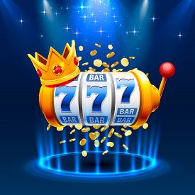 King Slots 777 Banner Casino On The Blue Background.